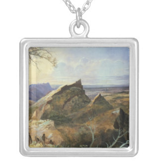 Aborigines in an Australian Landscape Silver Plated Necklace