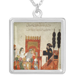 Abou Zayd preaching in the Mosque Square Pendant Necklace