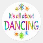 About Dancing Round Sticker