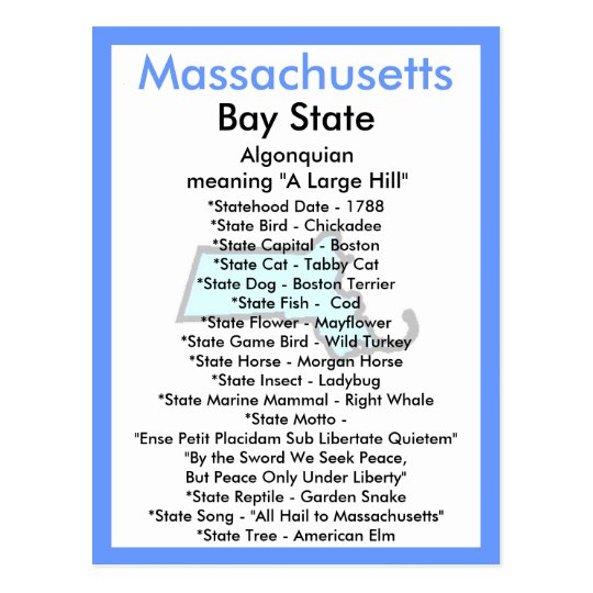 About Massachusetts Postcard
