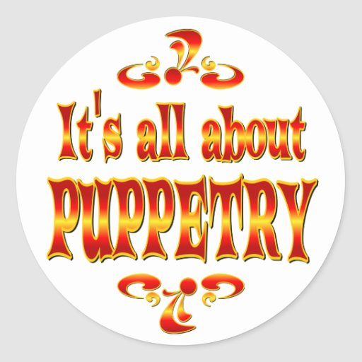ABOUT PUPPETRY ROUND STICKER