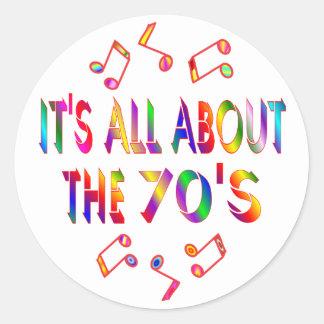 About the 70s round sticker