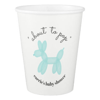 About To Pop Balloon Animal Blue Baby Shower Paper Cup
