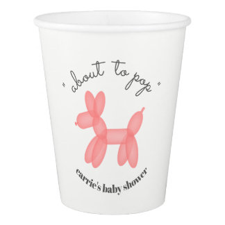 About To Pop Balloon Animal Pink Baby Shower Paper Cup