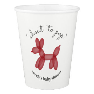 About To Pop Balloon Animal Red Baby Shower Paper Cup