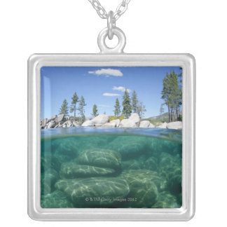 Above and below Lake Tahoe Silver Plated Necklace