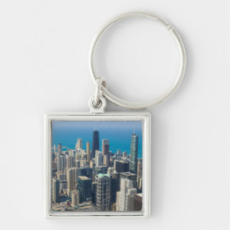 Above Chicago Silver-Colored Square Key Ring