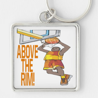 Above The Rim Silver-Colored Square Key Ring