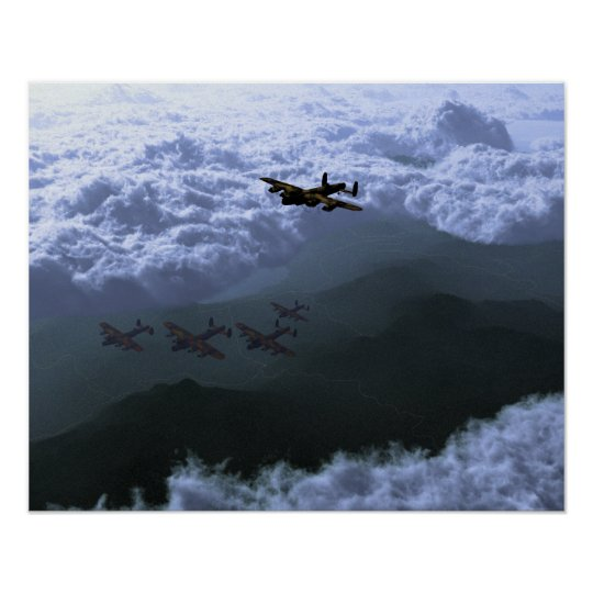 Above the sea of clouds Lancaster Bombers Poster