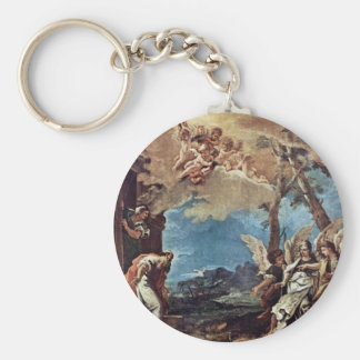 Abraham And The Three Angels,  By Ricci Sebastiano Key Chain