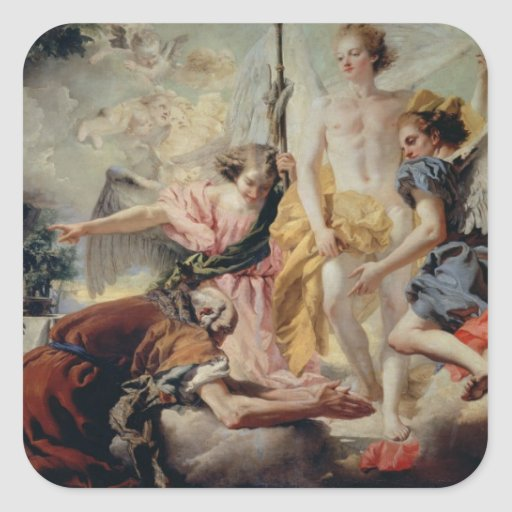 Abraham and the Three Angels Square Stickers