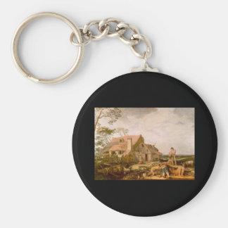 Abraham Bloemaert Landscape With Peasants Resting Basic Round Button Key Ring