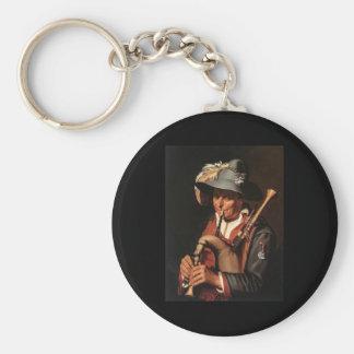 Abraham Bloemaert The Bagpiper Basic Round Button Key Ring