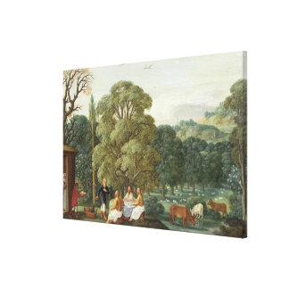 Abraham entertaining the Three Angels Canvas Print