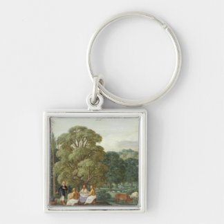 Abraham entertaining the Three Angels Silver-Colored Square Key Ring