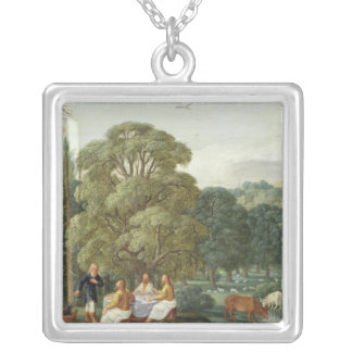 Abraham entertaining the Three Angels Silver Plated Necklace