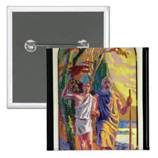 Abraham going to offer Isaac his son 15 Cm Square Badge