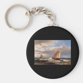 Abraham Hulk Snr A Choppy Estuary Basic Round Button Key Ring