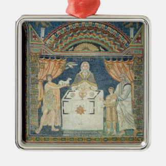 Abraham, Isaac and Melchisedech Silver-Colored Square Decoration
