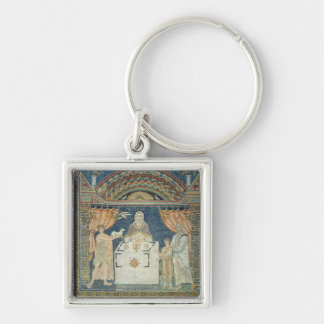 Abraham, Isaac and Melchisedech Silver-Colored Square Key Ring