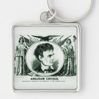 Abraham Lincoln 1860 Election Silver-Colored Square Key Ring