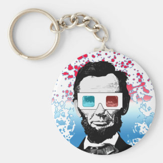 Abraham Lincoln - 3D Basic Round Button Key Ring