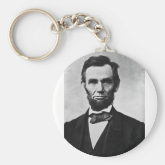 Abraham Lincoln 8 Basic Round Button Key Ring