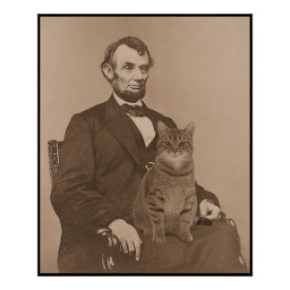 "Abraham Lincoln and his cat ""Gloria"" 2 Poster"