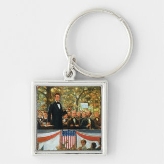 Abraham Lincoln and Stephen A. Douglas Silver-Colored Square Key Ring