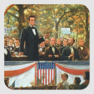 Abraham Lincoln and Stephen A. Douglas Square Sticker