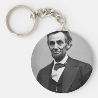 Abraham Lincoln Basic Round Button Key Ring