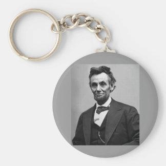 Abraham Lincoln Basic Round Button Key Ring