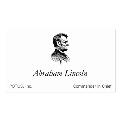 Create your own president business cards abraham lincoln business card templates reheart Images