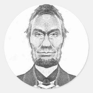 Abraham Lincoln caricature 100 dollars look Round Sticker