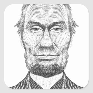 Abraham Lincoln caricature 100 dollars look Square Sticker