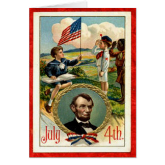 Abraham Lincoln Children Vintage 4th of July Greeting Card