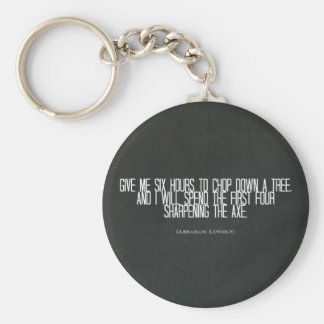 "Abraham Lincoln ""chop down a tree"" quote Key Chain"