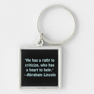 Abraham Lincoln Criticism Quote Silver-Colored Square Key Ring