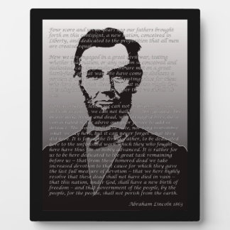 Abraham Lincoln  & Gettysburg Address Plaque