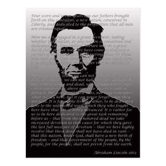 Abraham Lincoln Gettysburg Address Postcard