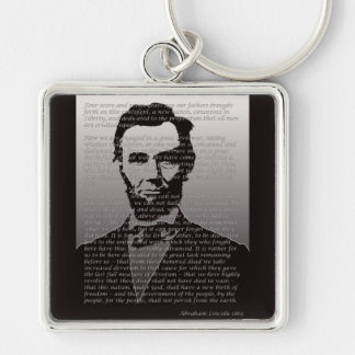 Abraham Lincoln Gettysburg Address Silver-Colored Square Key Ring
