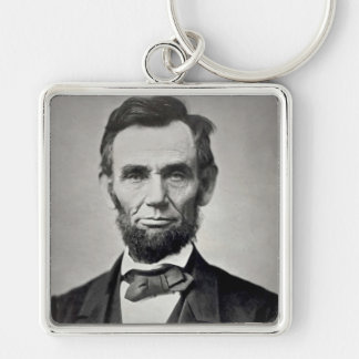 Abraham Lincoln Gettysburg Portrait Silver-Colored Square Key Ring