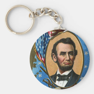 Abraham Lincoln Giving Gettysburg Address Basic Round Button Key Ring