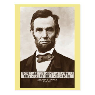 Abraham Lincoln 'Happy' wisdom quote postcard