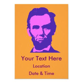 Abraham Lincoln in Pink & Purple 13 Cm X 18 Cm Invitation Card