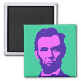 Abraham Lincoln in Pink & Purple Square Magnet