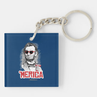 Abraham Lincoln 'Merican Party Double-Sided Square Acrylic Key Ring