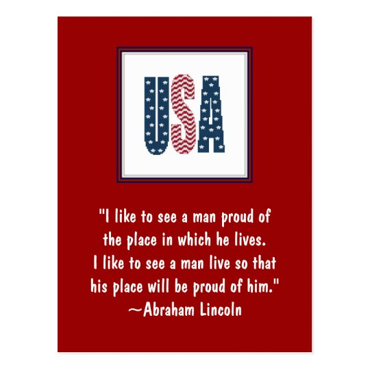 Abraham Lincoln National Pride Quote Postcard