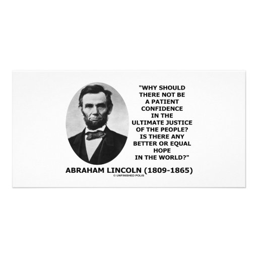 Abraham Lincoln Patient Confidence Justice Quote Photo Card