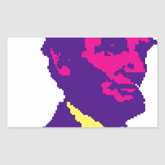 Abraham Lincoln Pixelated Rectangular Sticker